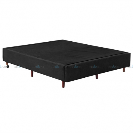 Base Cama Box Queen 156 x 198 x 37 cm Suede Preto - Santo Box