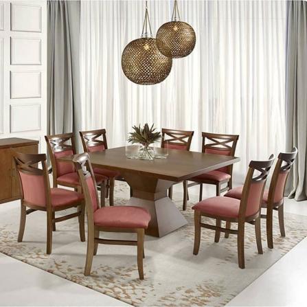 Conjunto Mesa com 8 Cadeiras de Madeira Copacabana - Fragamar